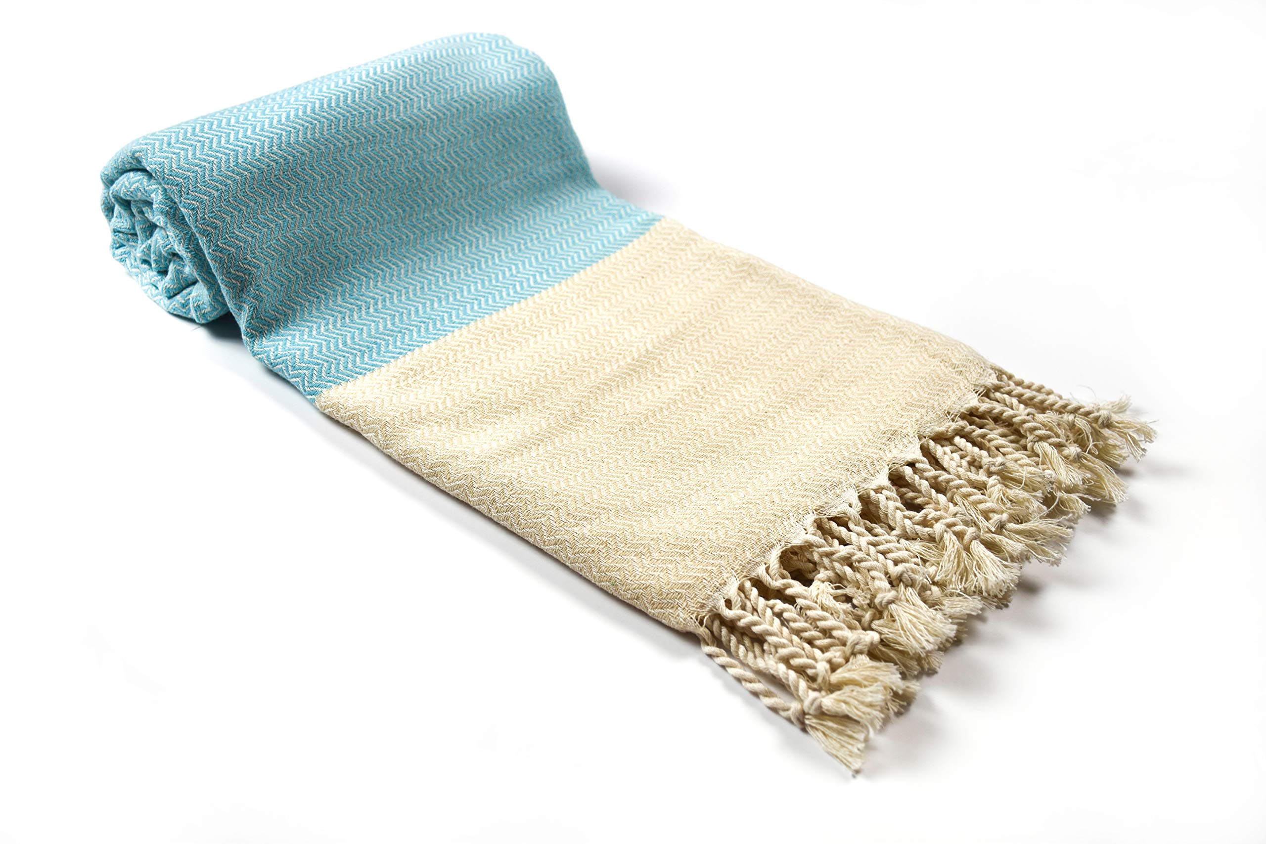 Mihra Turkish Cotton Bath Beach Spa Sauna Hammam Yoga Gym Turkish Bath Towel Peshtemal Pestemal Blanket (Turquoise)