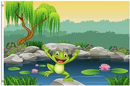 Amazoncom Shinesnow Animal Frog Lotus Flower Tree Spring Cartoon