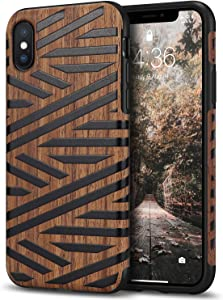 Tasikar Compatible with iPhone Xs Case/iPhone X Case Easy Grip Slim Case with Wood Grain Design Natural Feel Compatible with iPhone Xs/iPhone X (Leather & Wood)