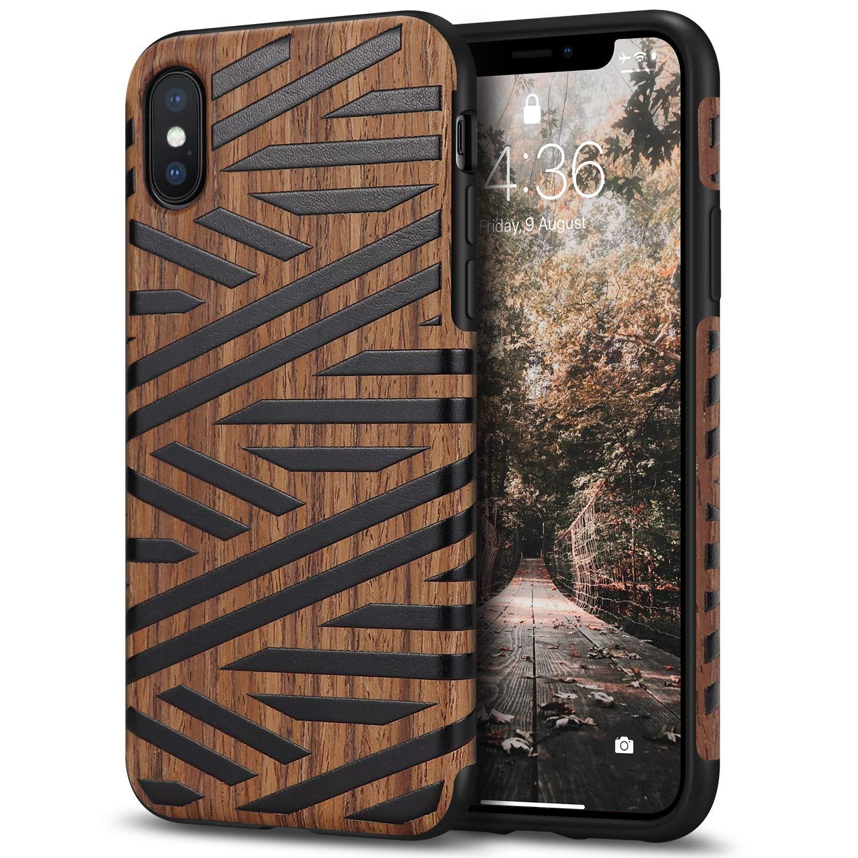 Funda para iPhone Xs Max de cuero y madera-X7QQ
