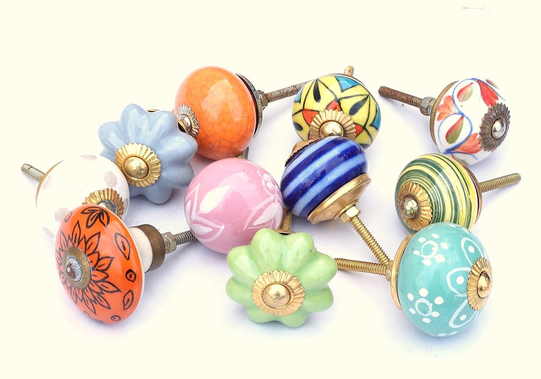10 Set Indien sortiert Multicolor Keramik Schubladen Knä ufe Tü r Schrank zieht indischen Mix Regler Healing Crystals India KN07