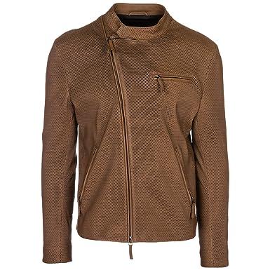 cheap for discount 54c1a 3c417 Emporio Armani Giubbotto di Pelle Uomo Marrone 50 EU: Amazon ...