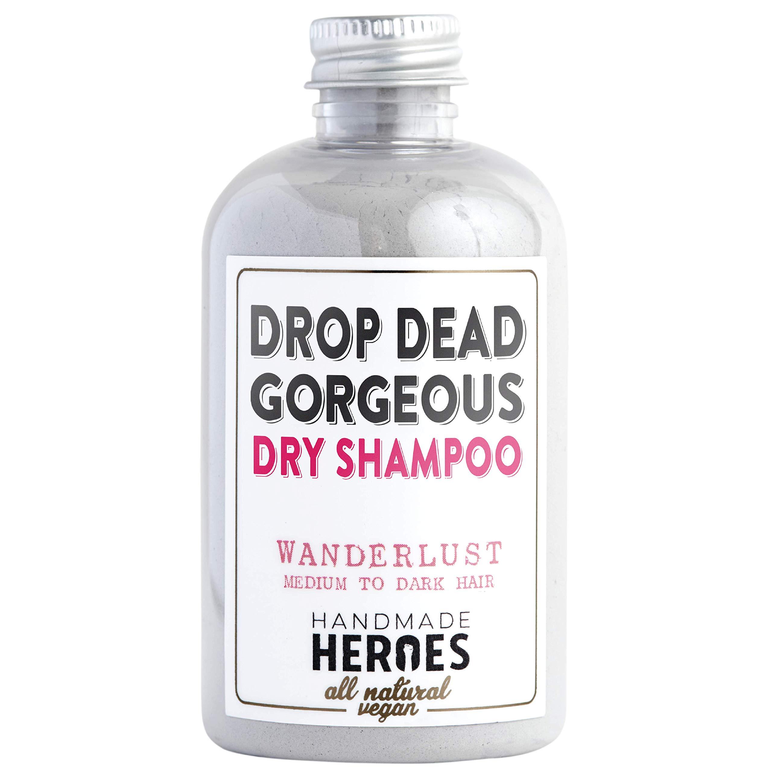 All Natural, Vegan Dry Shampoo Powder - For Medium to Dark Color & Brunette Hair - Volume Hair Powder | Travel size | 2 ounces by Handmade Heroes