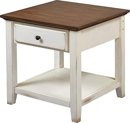 The Mezzanine Shoppe Charleston Modern Two-Tone 2 Drawer Living Room End Table, 23.75 , Off-White Chestnut