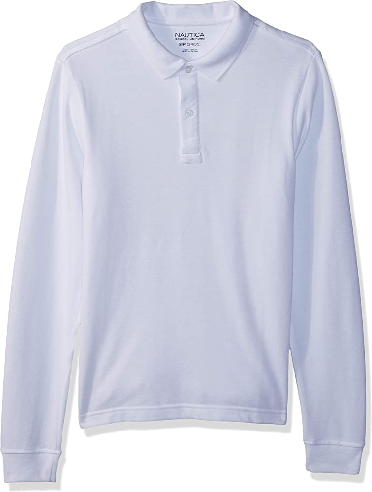 Nautica School Uniform Long Sleeve Polo Camisa, Blanco, Small para Hombre: Amazon.es: Ropa y accesorios