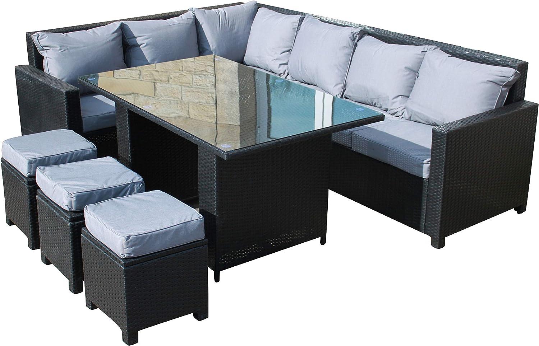 Rattan Outdoor Corner Sofa Dining Set Garden Furniture In Black Amazon Co Uk Garden Outdoors