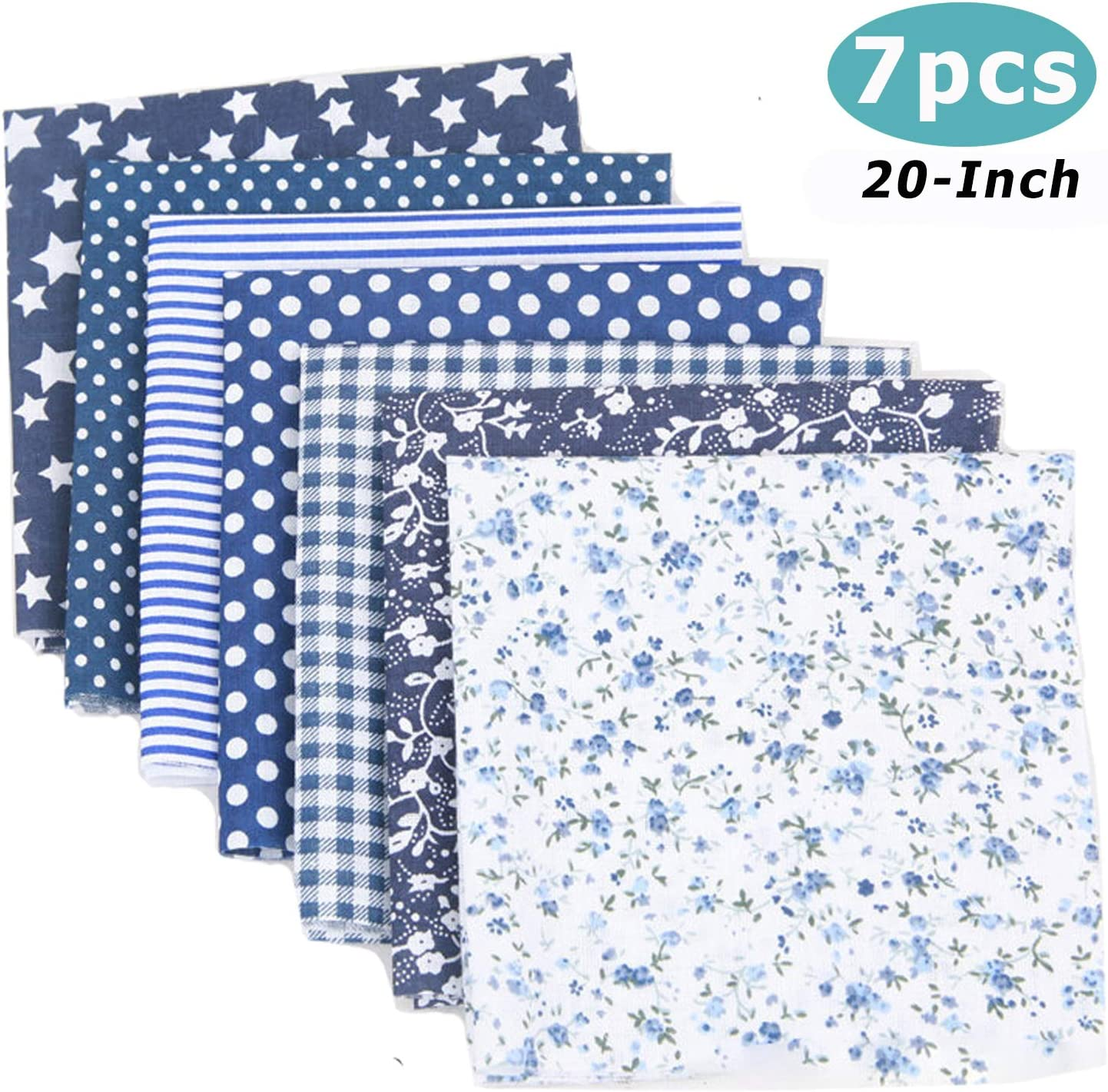 Cotton Craft Fabric Bundle Patchwork, 7pcs 20-inch Squares Quilting Sewing Patchwork Different Pattern Cloths DIY Scrapbooking Artcraft (Navy Blue)