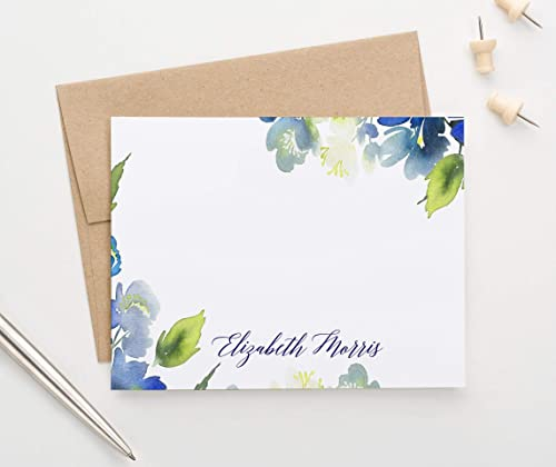 Personalized Stationery Set for Women Personalized Watercolor Stationary with Envelopes Pretty Folded Note Cards Set of 25 Note Cards Professional Personalized Note Cards for Women