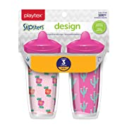Playtex Sipsters Stage 3 Design Selections Spill-Proof, Leak-Proof, Break-Proof Insulated Spout Cup for Girls, 9 Ounce - 2 Pack
