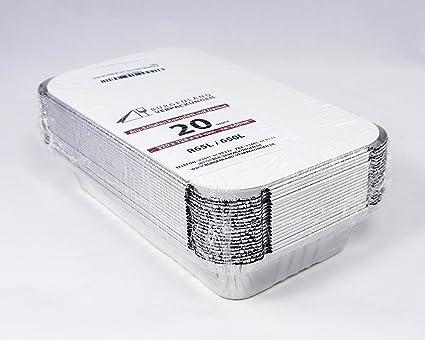 20 bandejas rectangular con tapa • r65l • 650 ml • 220 x 128 x 33