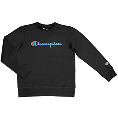 f6da07fe Image Unavailable. Image not available for. Color: Champion Unisex Heritage  Fleece Script Pullover Sweatshirt (4, Black)