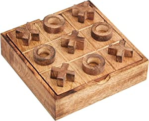 Tic Tac Toe Game for Kids and Adults | Tabletop Wooden Board Game | Handmade Modern Classic Wood Game for Kids Family | Strategy Brain Puzzle for Adults Kids | Wood Coffee Living Room Table Decor