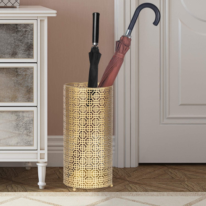 Gold Gold Round Umbrella Holder for Canes Walking Sticks Home//Office Metal Umbrella Stand Racks