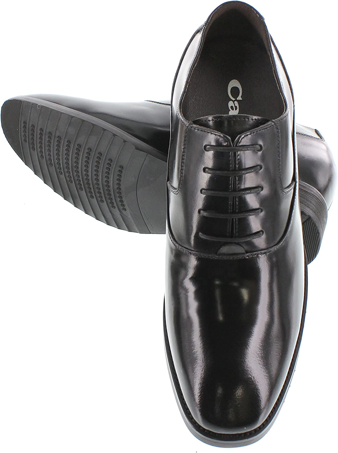 G1019-3 Inches Taller Black Premium Leather Lace-up Formal Dress Oxfords CALTO Mens Invisible Height Increasing Elevator Shoes