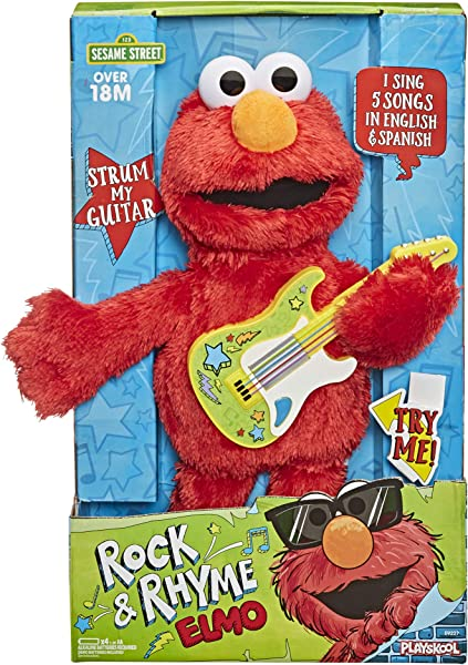 Sesame Street Rock and Rhyme Elmo interactive stuffed plush toy for kids in package