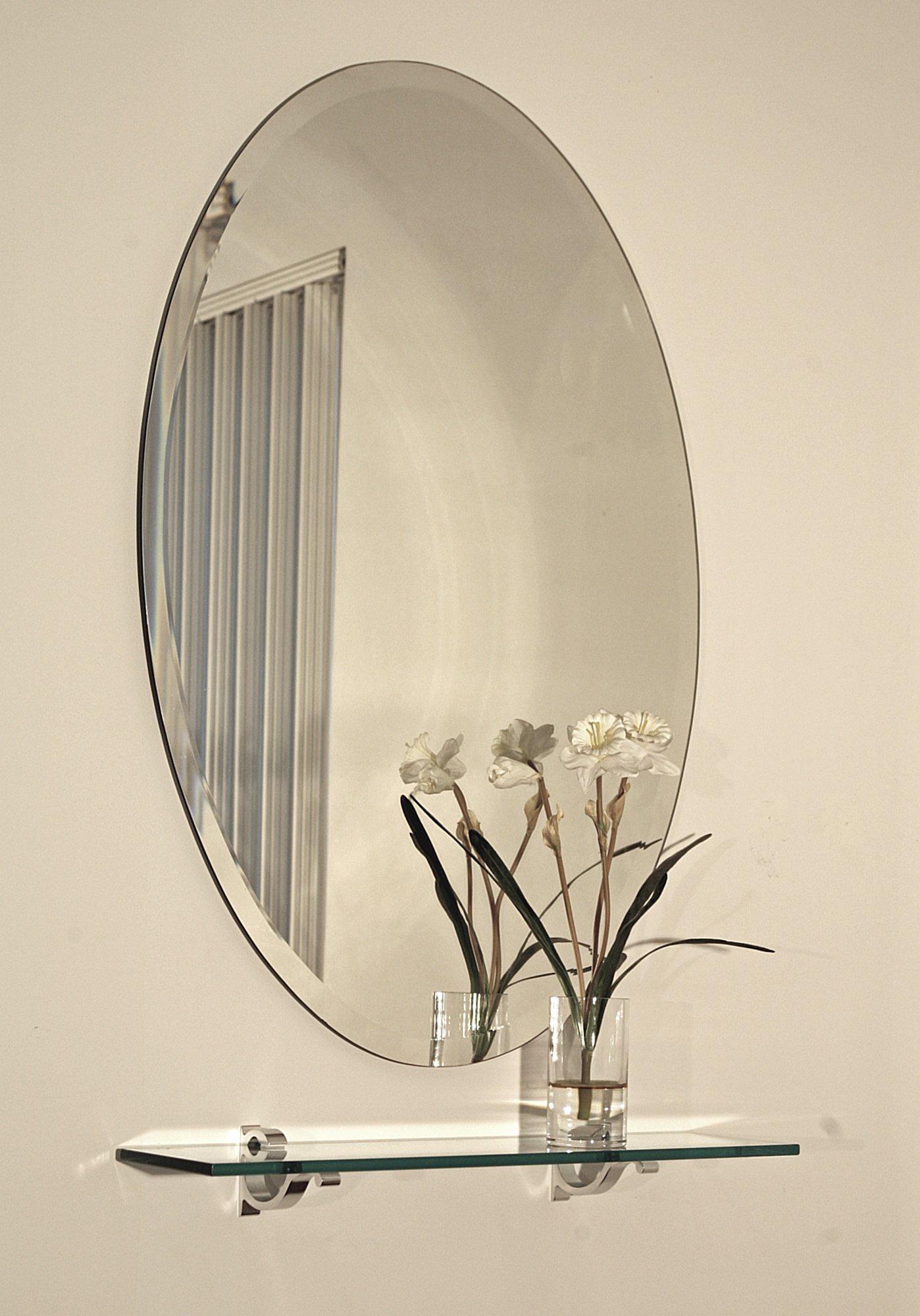 24'' X 36'' Oval Frameless Bevel Wall Mirror