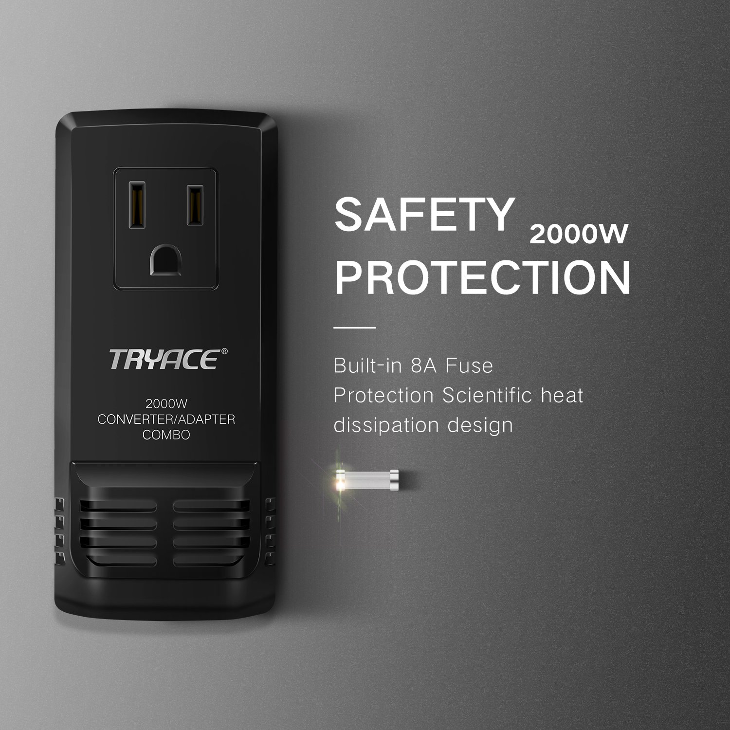 TryAce 2000W Worldwide Travel Converter and Adapter Set Down Voltage 240V to 110V Combo International Voltage Converter for Hair Dryer Phones Laptop All in One Plug Adapter Wall Charge for UK/AU/US/EU by TryAce (Image #5)