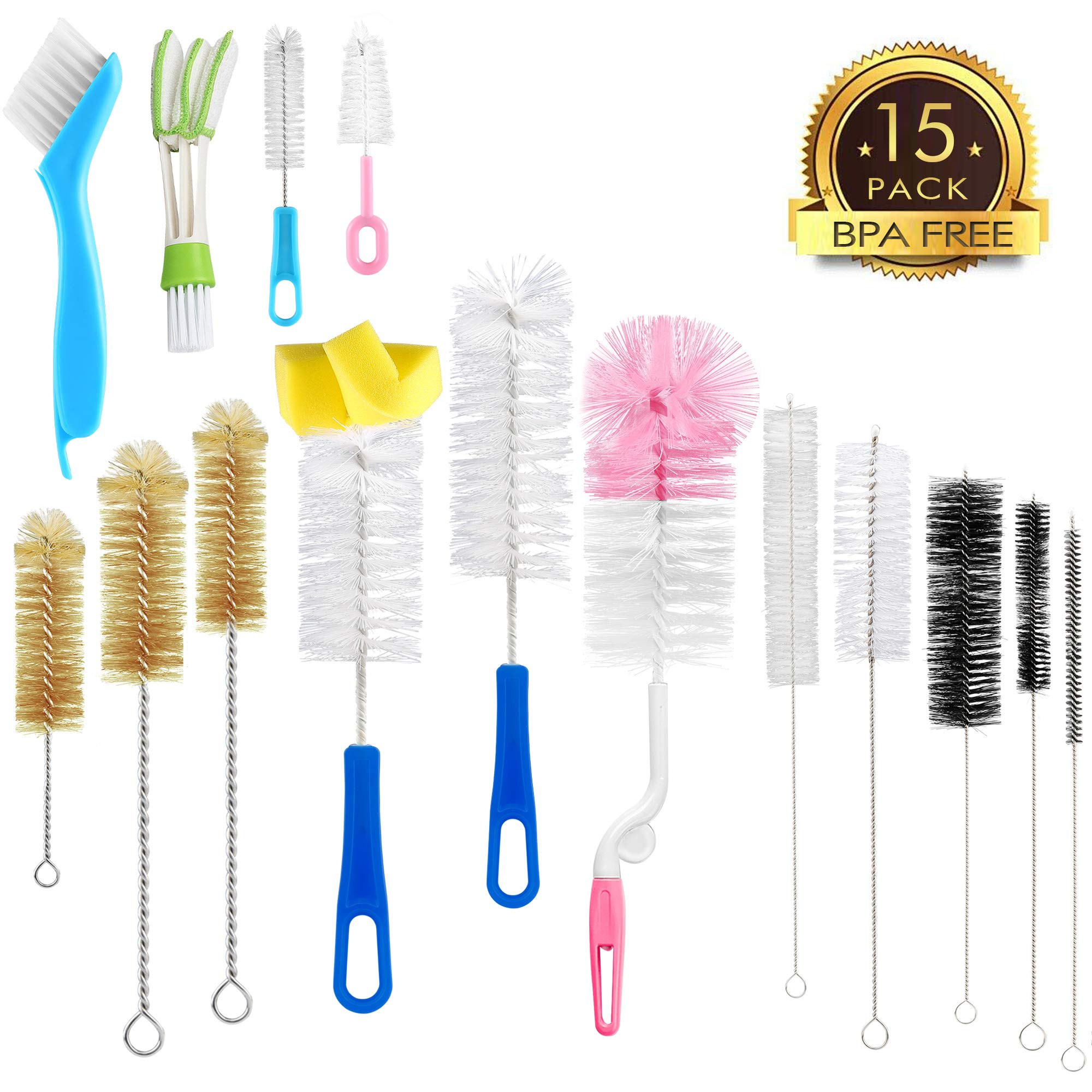 15Pcs Food Grade Multipurpose Cleaning Brush Set,Lab Cleaning Brushes,Include Straw Brush|Bottle Brush|Blind Duster|Pipe Cleaner,Small,Long,Soft,Stiff Kit for Baby Bottles,Nipple,Tubes,Jar,Bird Feeder by Zannaki