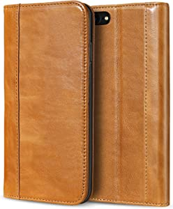 ProCase Wallet Case for iPhone SE 2020/ iPhone 8/ iPhone 7, Genuine Leather Case Vintage Wallet Folding Flip Case with Kickstand Card Holder Protective Cover -Brown
