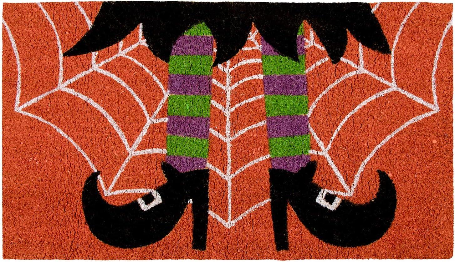 Halloween Witch Welcome Mat for Front Door, Natural Coir Doormat (30 x 17 in)