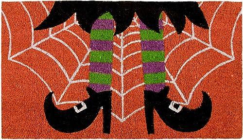 Halloween Witch Welcome Mat for Front Door, Natural Coir Doormat 30 x 17 in
