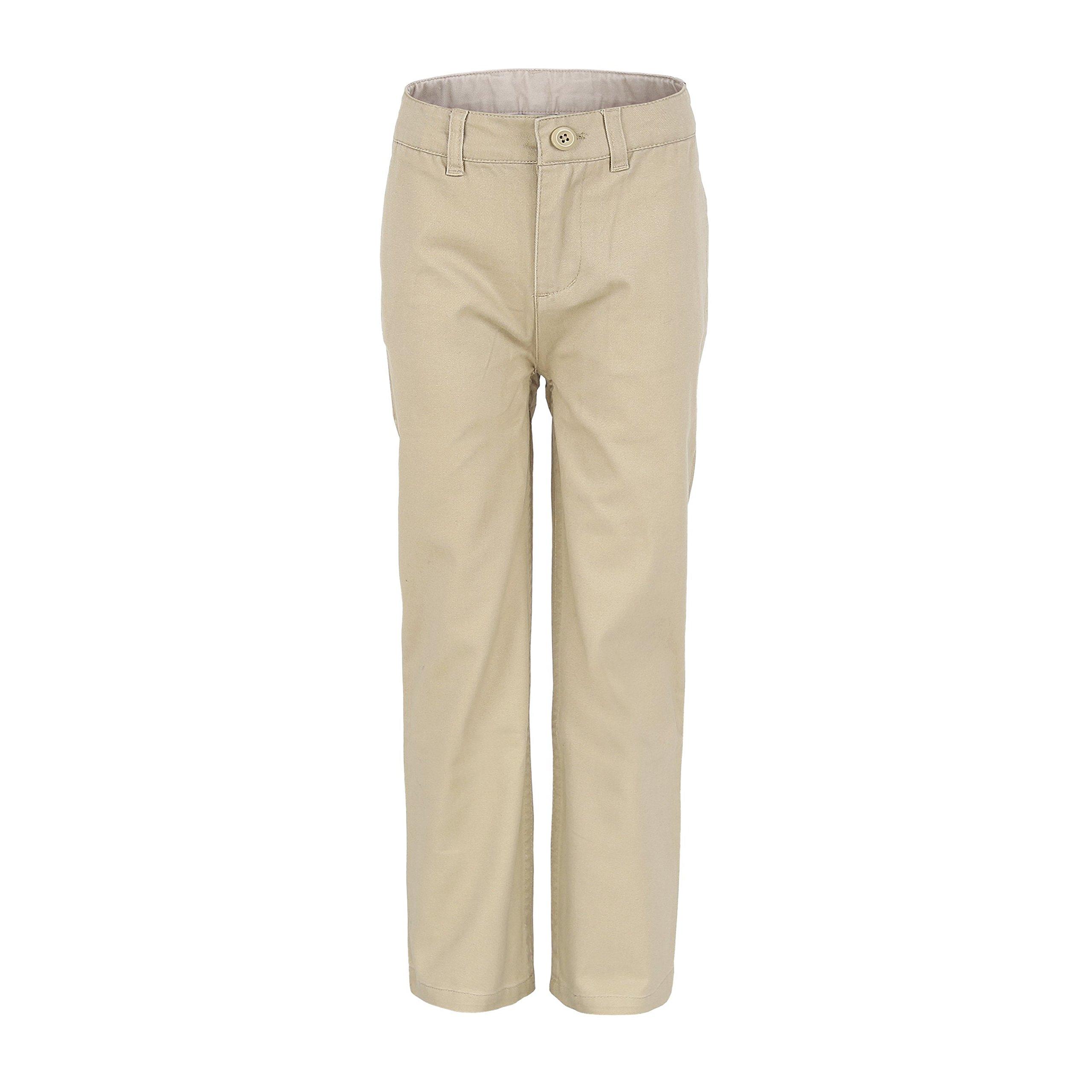 Bienzoe Big Boy's School Uniforms Flat Front Adjust Waist Pants Khaki Size 10