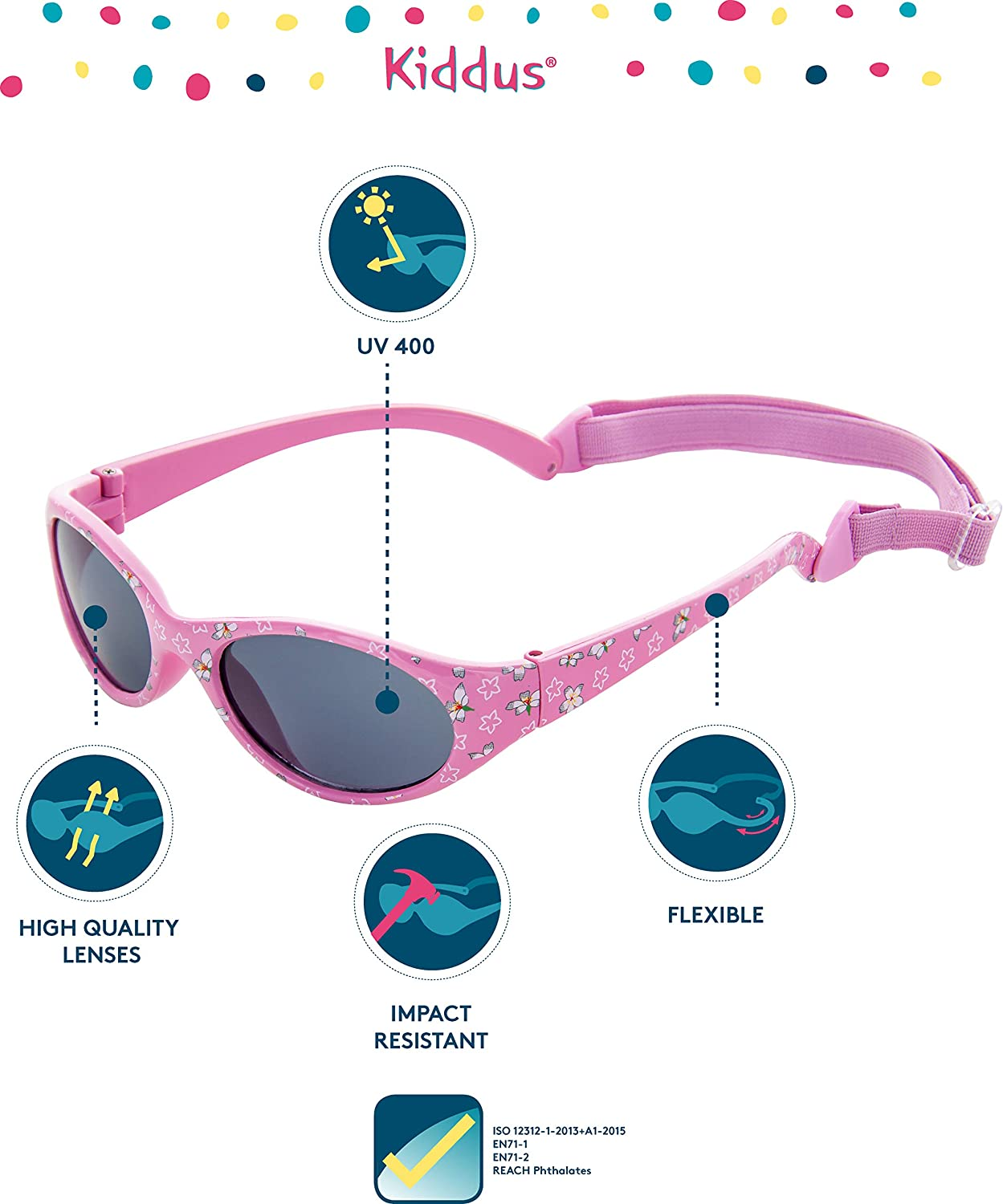 KIDDUS POLARIZED Sunglasses for Kids Boy Girl Children Toddler From 6 years old Impact resistant 100/% UV protection Comfortable and Secure