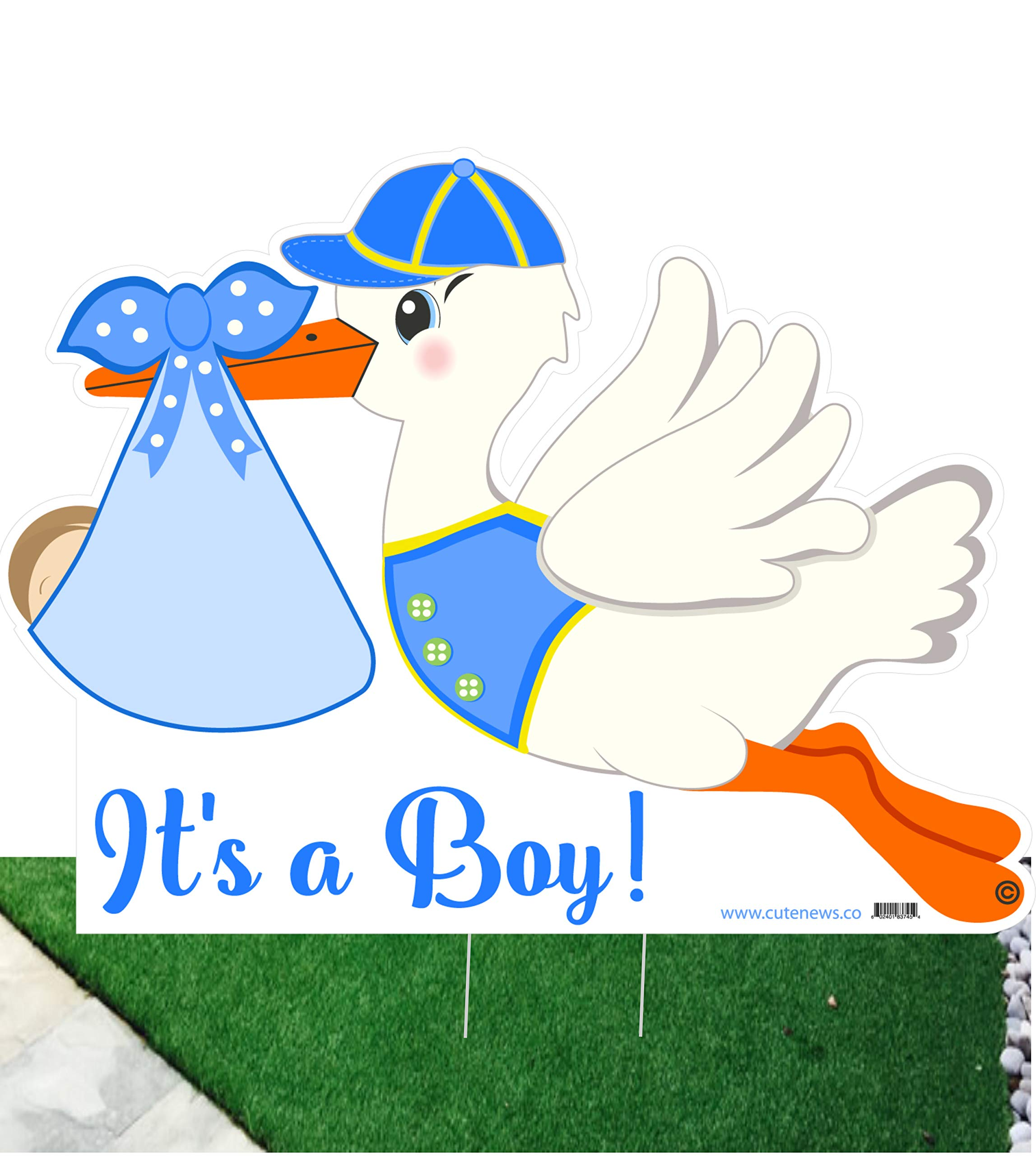 It's a Boy Stork Yard Sign - Welcome Home Newborn Baby Lawn Sign Announcement - Blue Baby Shower Party Decoration