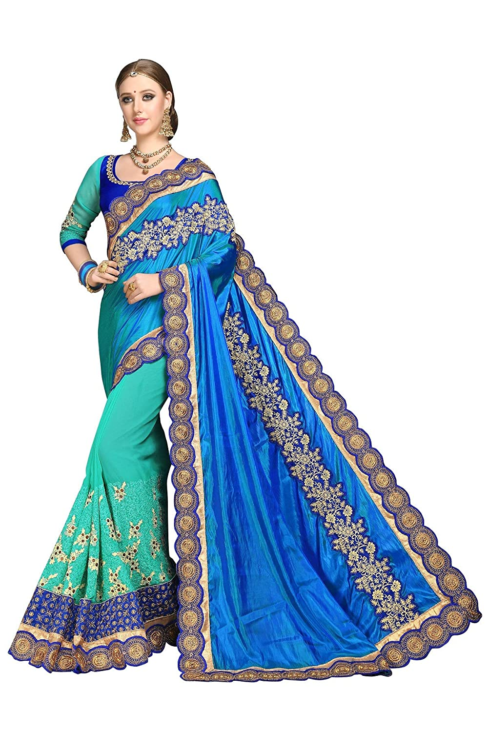 bluee 1 Riva Fashion Sarees for Women l Indian Wedding Ethnic Wear Sari & Blouse Piece.