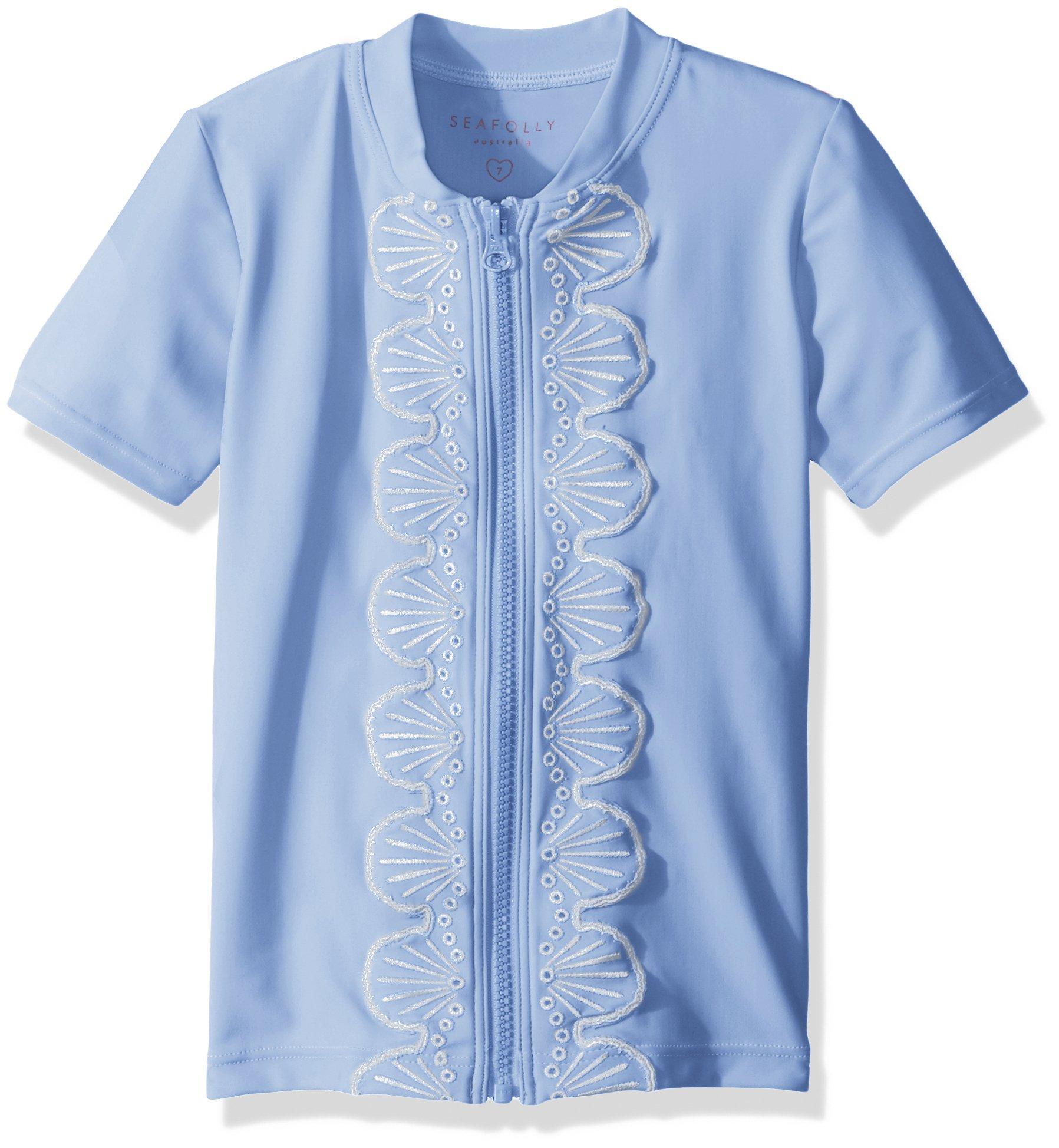 Seafolly Little Girls' Sweet Summer S/s Zip Front Swimsuit Rashguard, Bluebell, 4