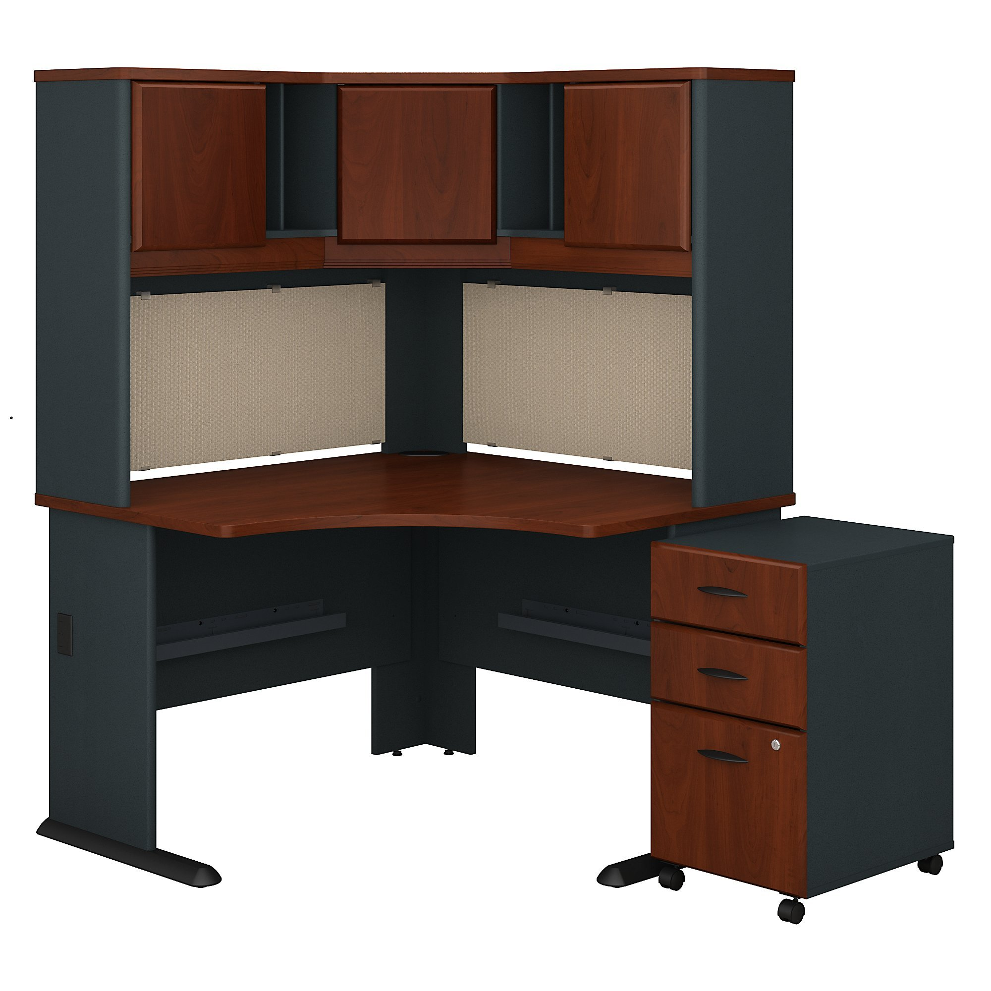 Bush Business Furniture Series A 48W Corner Desk with Hutch and Mobile File Cabinet in Hansen Cherry and Galaxy by Bush Business Furniture