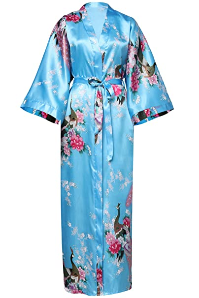ArtiDeco Vestido Kimono Pijama de Seda Bata Novia Kimono de Seda Ropa de dormir de Satén Estampado Pavo Real: Amazon.es: Ropa y accesorios