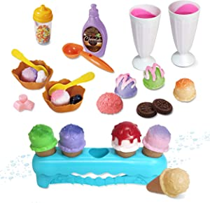 Kidzlane Ice Cream Playset | Pretend Play Ice Cream Toy Set for Kids | Water Activated Color Changing Scoops & Toppings | 34 Piece Set for Girls and Boys | Ages 3+