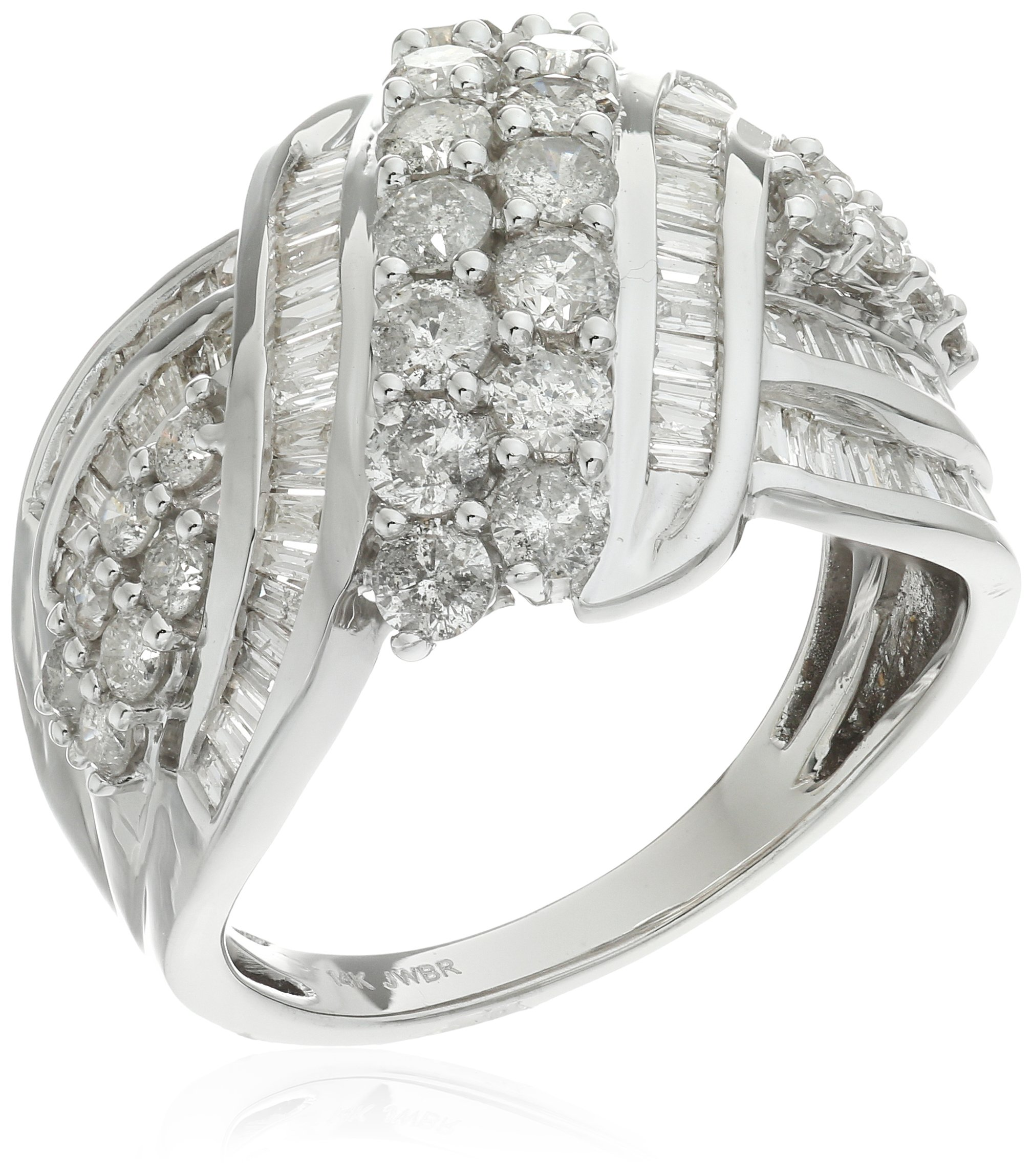 14k White Gold Double Row Diamond bypass Ring (2 cttw), Size 7