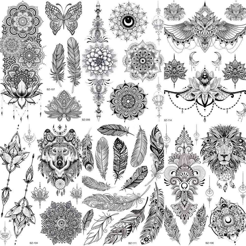 COKTAK 6 Hojas Único Negro Pegatinas de Tatuaje Temporal Para Mujeres Adultos Chicas Pluma Mandala Flor Grande Grande Brazo Tatuajes de Encaje Indio Búho Sexy Boda Tattoos Flores: Amazon.es: Belleza