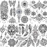 ملصقات الوشم المؤقت COKTAK 6 قطع/مجموعة فريدة من نوعها سوداء للكبار والنساء والفتيات الريش ماندالا زهرة الجسم الفنية…