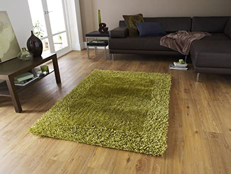 Hand Loom Modern Border Shaggy Rugs and Carpets for Living Room, Hall (5 feet x 7 feet - Large Carpet) Carpets at amazon