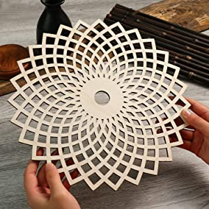 "Simurg 11.5"" Torus Flower Crystal Grid Torus Flower Wall Art Wooden Crystal Grid Board Sacred Geometry Wall Hanging Decor Wall Sculpture"