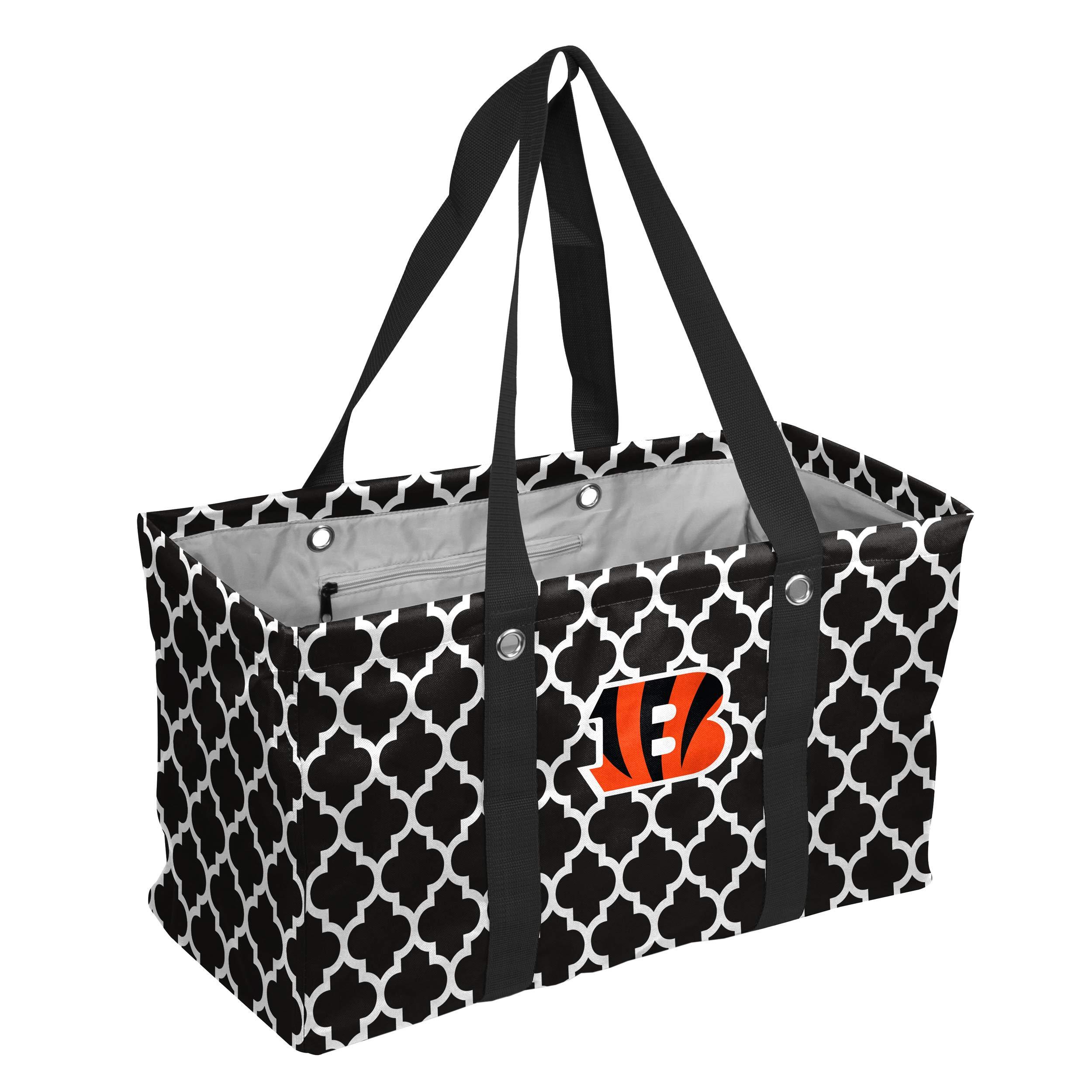 Logo Brands NFL Cincinnati Bengals Quatrefoil Picnic Caddy, Black, One Size