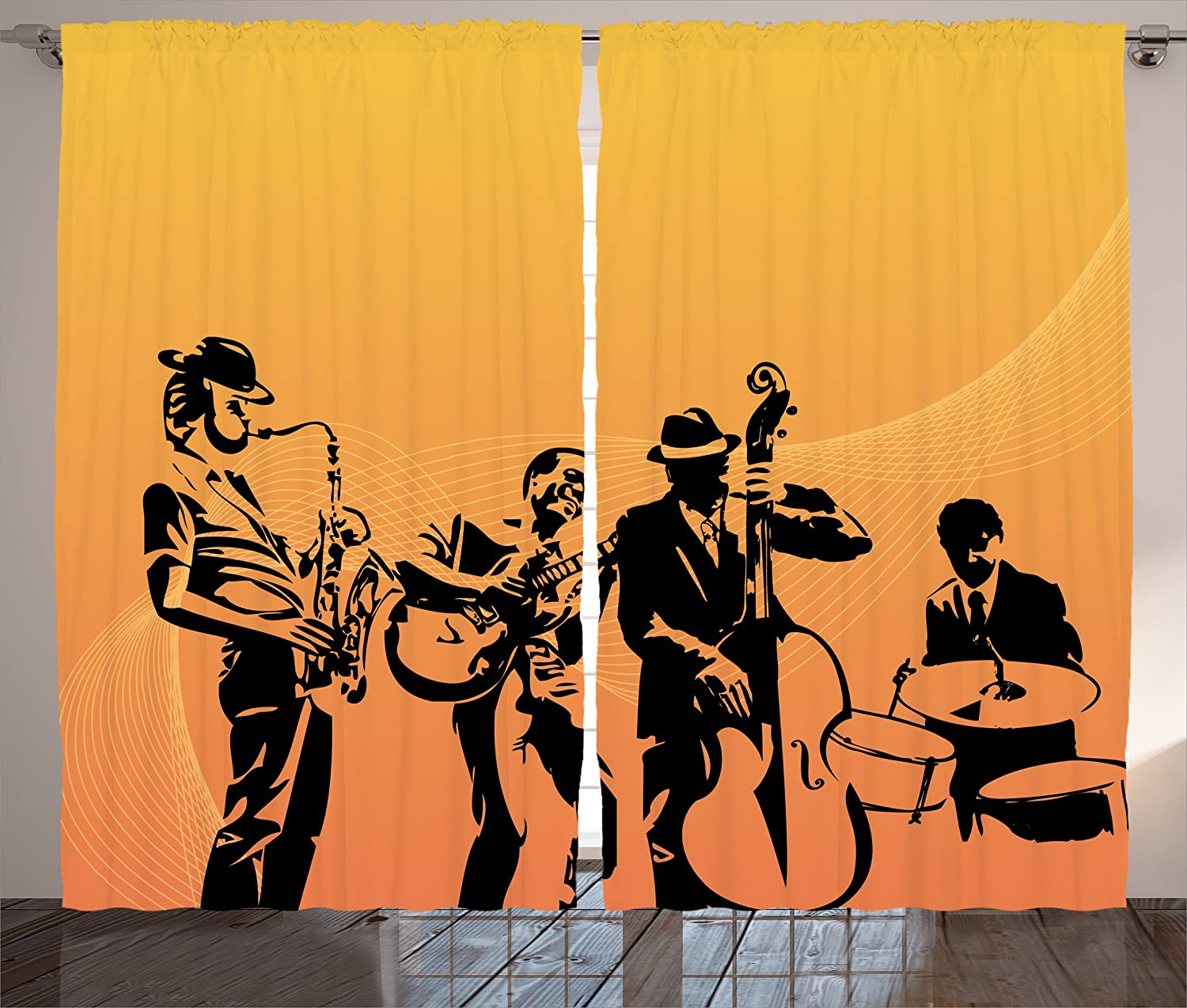 """Ambesonne Jazz Music Curtains, Silhouette of Jazz Quartet Performing on Stage Acoustic Passion Old Style Art, Living Room Bedroom Window Drapes 2 Panel Set, 108"""" X 84"""", Mustard Black"""