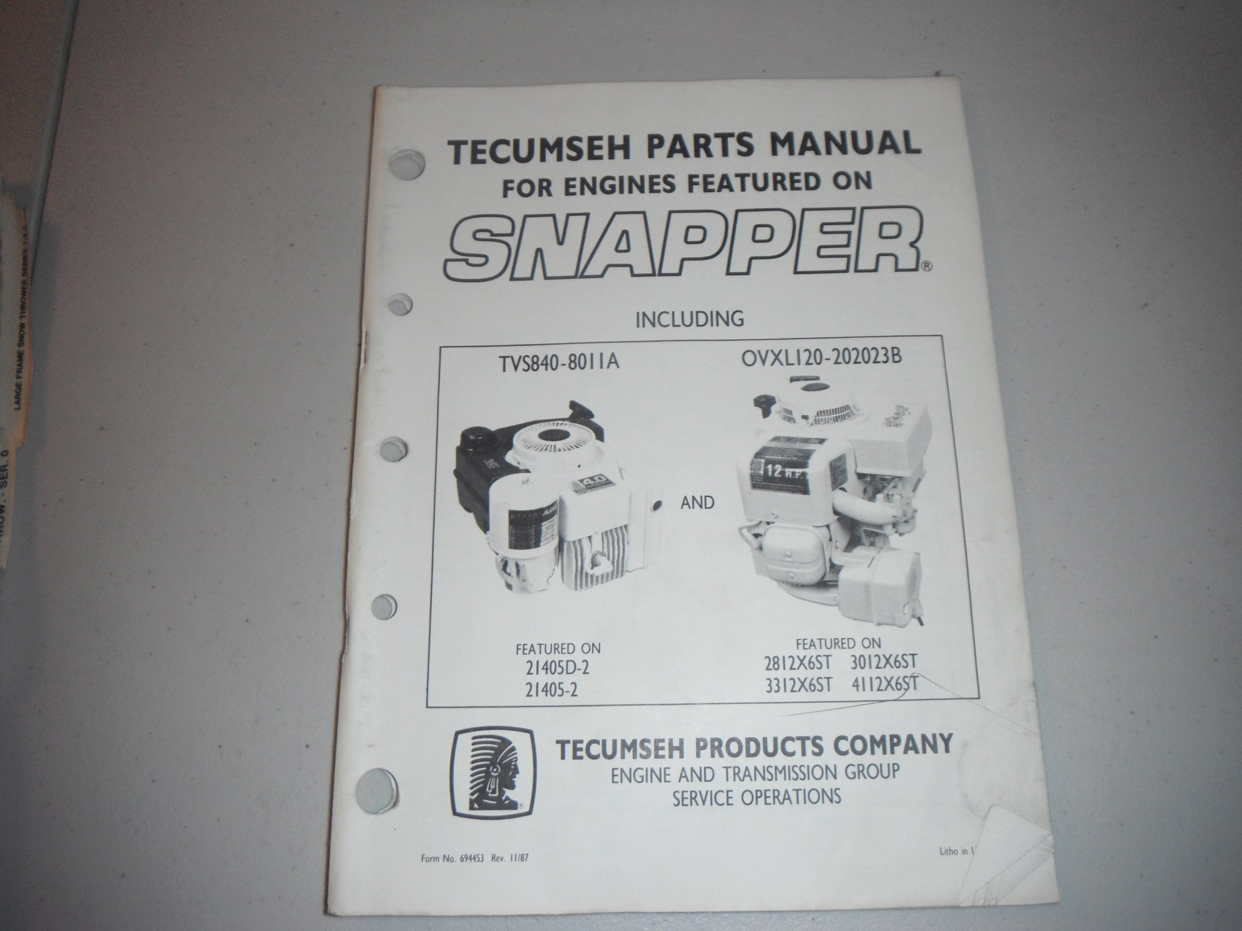 tecumseh parts manual for engines featured on SNAPPER mowers-1987