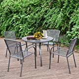 """AECOJOY 5-Piece Patio Metal Dining Set, Outdoor Metal Dining Table Set with Round Table 1.73"""" Umbrella Hole and 4 Stackable A"""