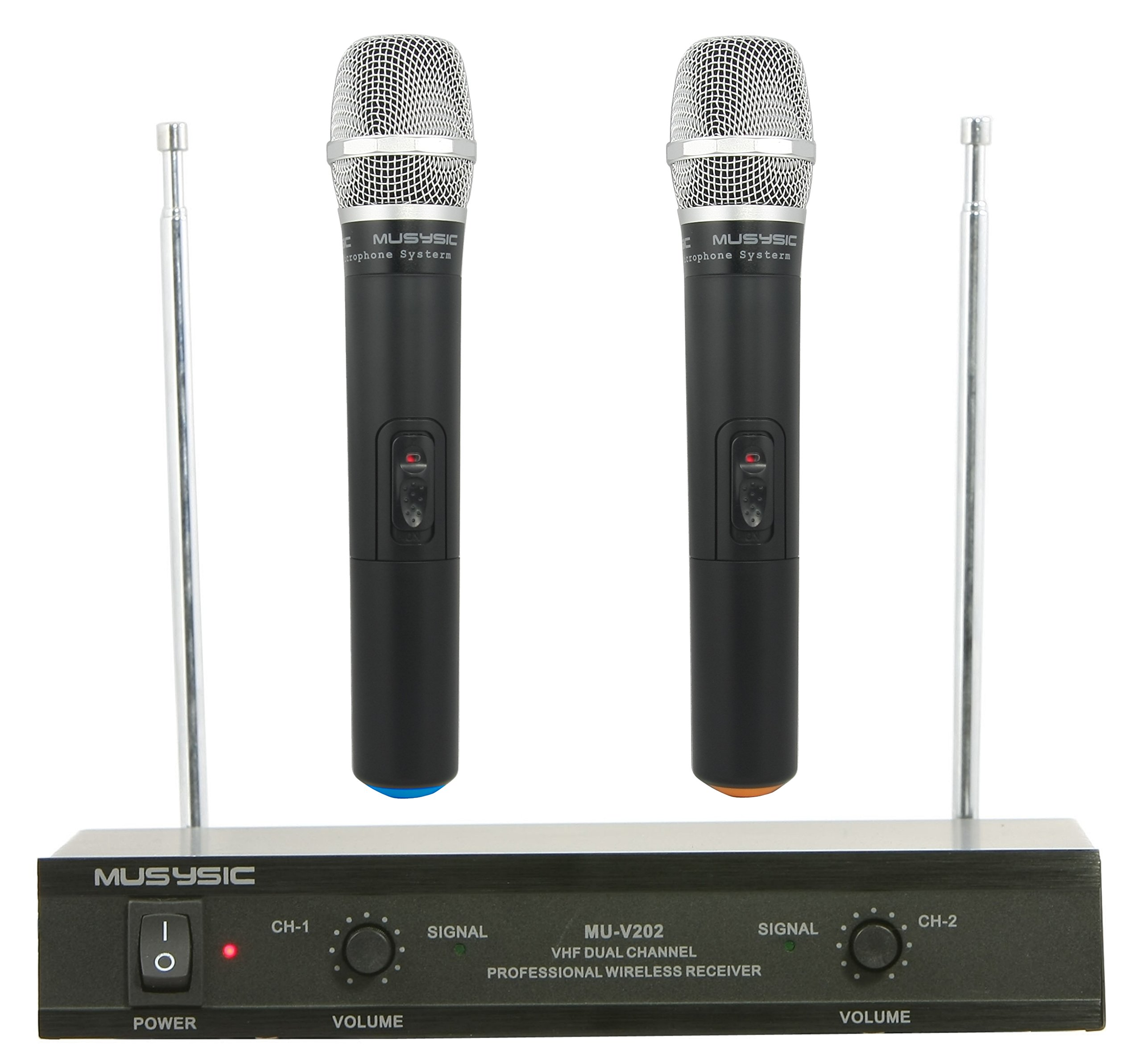 Professional 2 Channels Dual VHF Handheld Wireless Microphone System Karaoke PA System