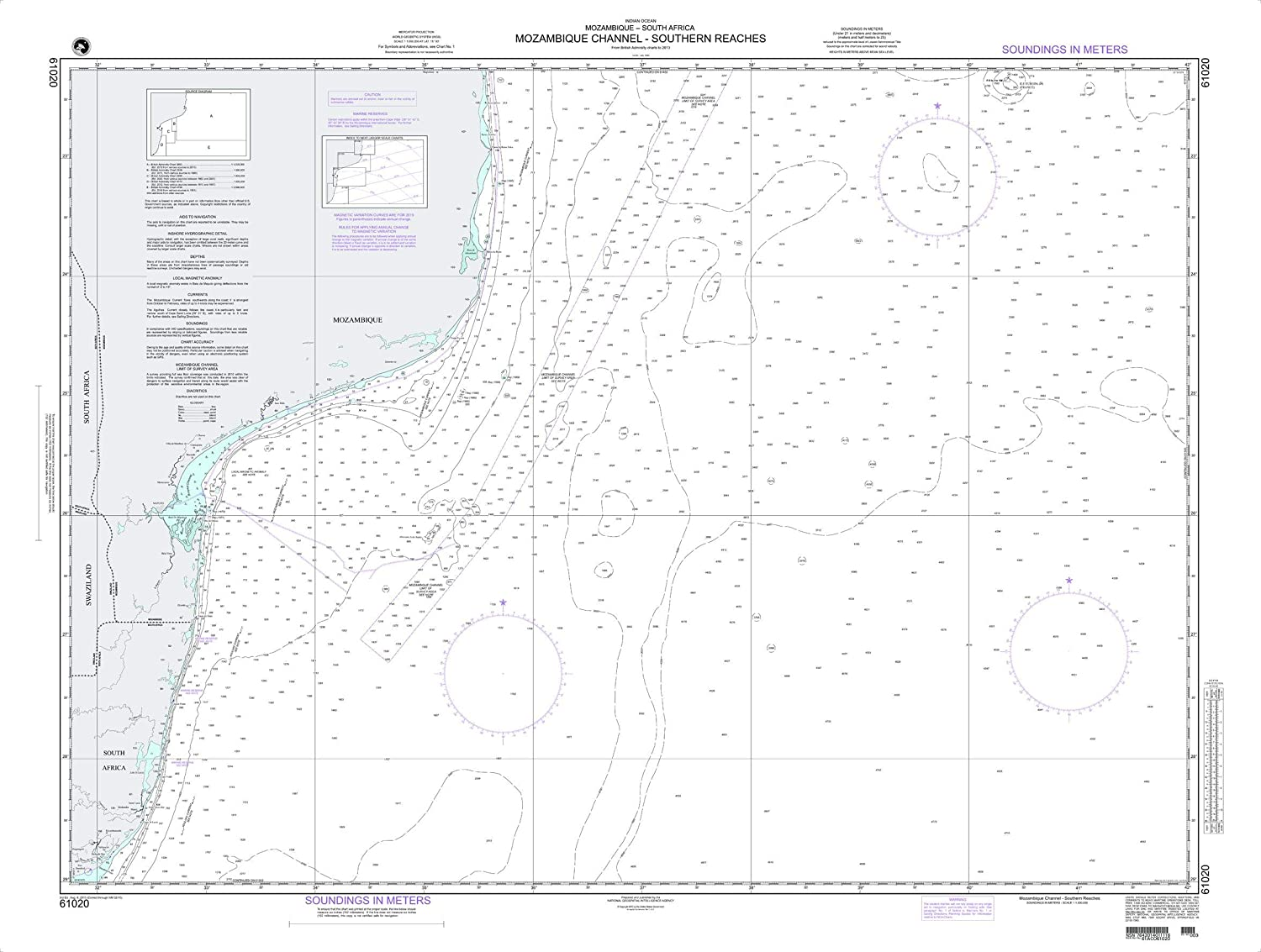 Nga Chart 61020 Mozambique Channel Southern Reaches 49 X 37