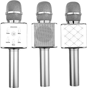 Prixton Karaoke-P - Micrófono con Bluetooth 4.0, Color Plata