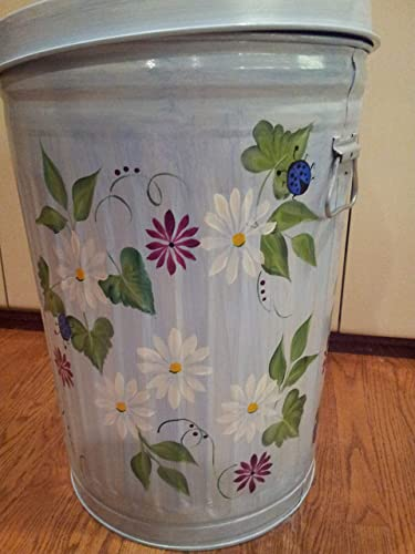 20 Gallon Hand Painted Galvanized Trash Can