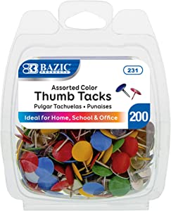 BAZIC Assorted Color Steel Push Pins Thumb Tacks, 3/8 Inch Flat Head Push Pin Thumbtack Sharp Points for Cork Bulletin Board Posters Picture Office Home School (200/Pack), 1-Pack
