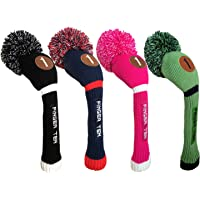 Finger Ten Pom Pom Golf Headcover Wood Club Cover for Driver Fairway Hybrid, Men Women Color Black Blue Hot pink Value Pack