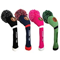 Finger Ten Pom Pom Golf Headcover Wood Club Cover Driver Fairway Hybrid, Men Women Color Black Blue Hot pink Value Pack