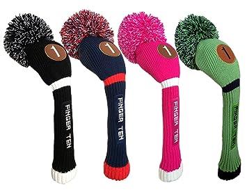 Finger Ten - Funda para cabezas de palos de golf, para cabeza de driver, fairway e hybrid, diseño unisex con pompón, color negro, azul, rosa fuerte